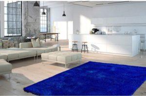 tapis polyester bleu