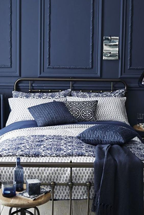 linge de lit bleu