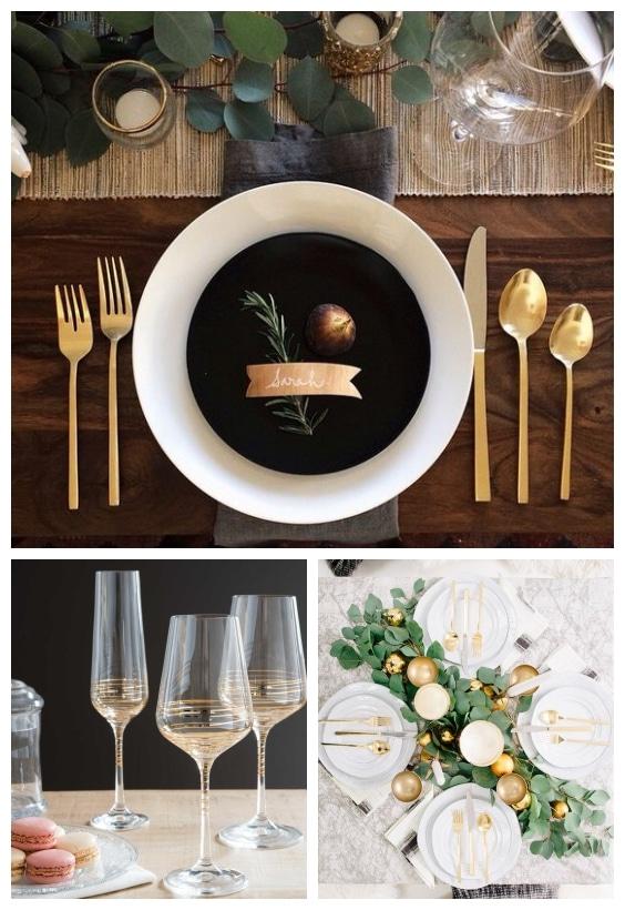 déco de table dorée nouvel an
