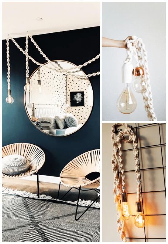 lampe macramé, décoration intérieur, camoufler câbles électriques