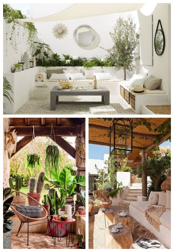 salon de jardin et plantes suspendues
