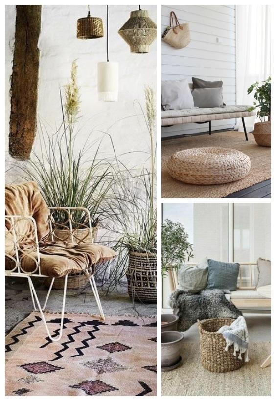 tapis d'extérieur en fibre végétal pour salon de jardin