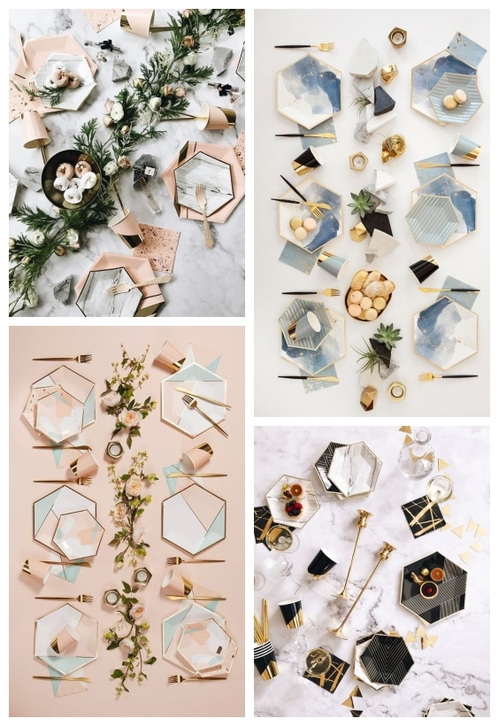 décoration de table géométrique