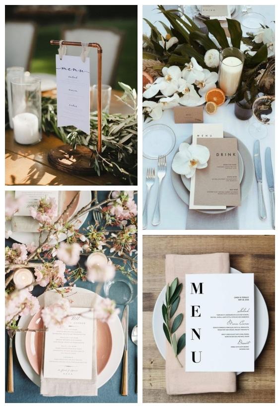 menu table de mariage