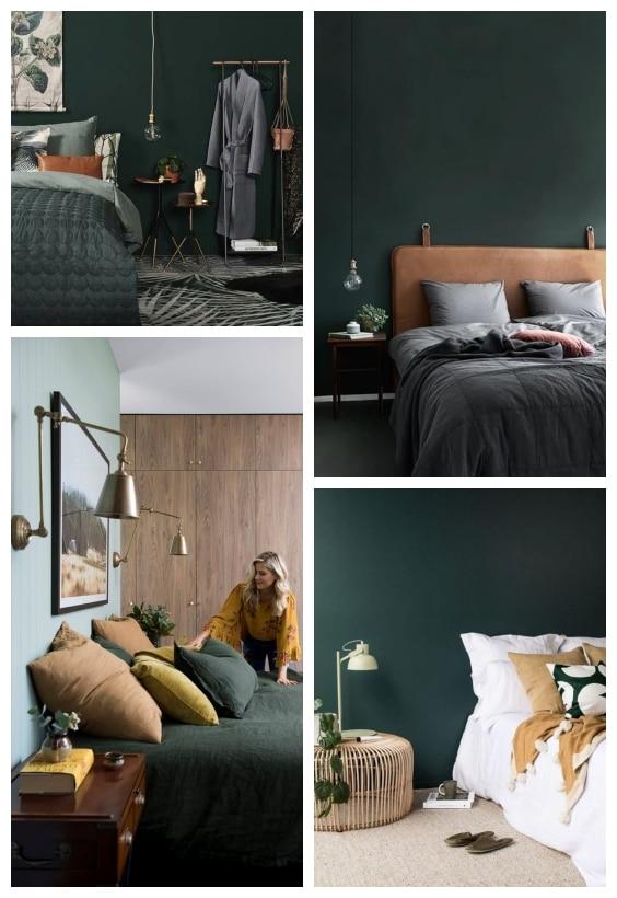 décoration vert bouteille chambre