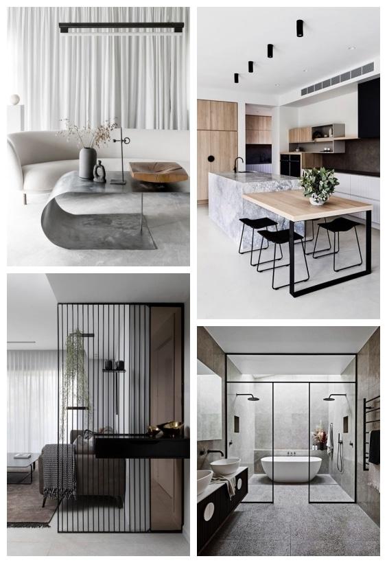 béton et métal noir décoration design
