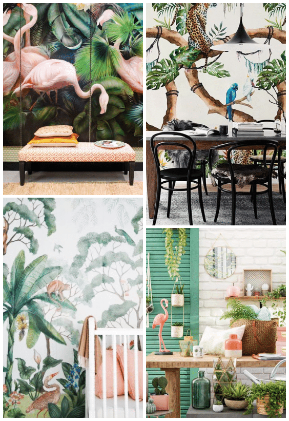 déco jungle motifs flamand rose