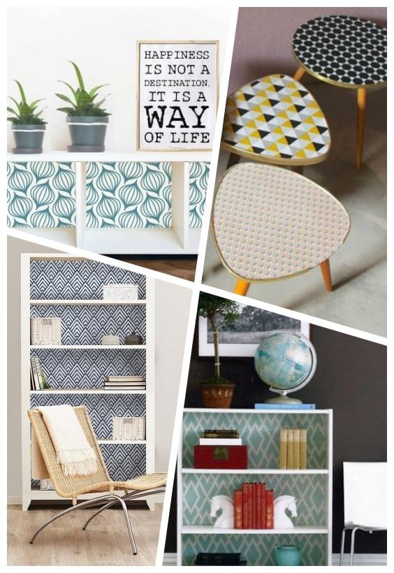 customiser meuble avec chutes de papier peint