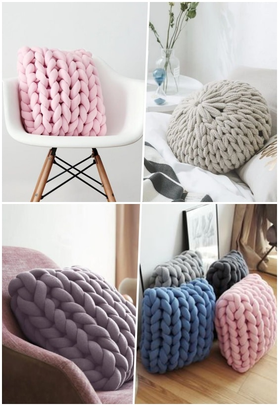 coussin grosse maille tricot