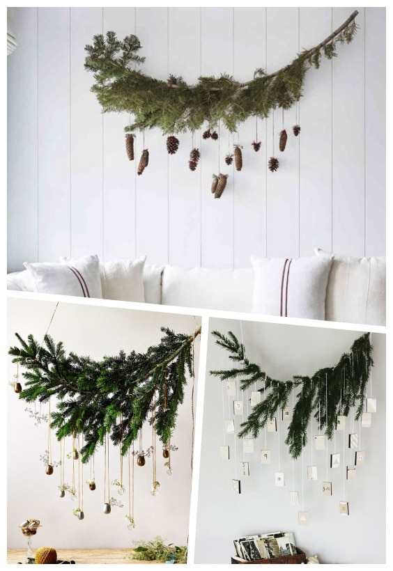 déco murale suspension branche sapin Noël