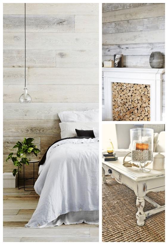 décoration cosy bois blanchi