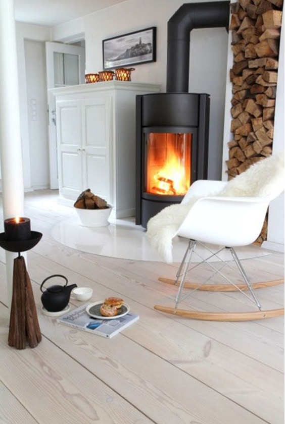 poêle à bois style scandinave hygge