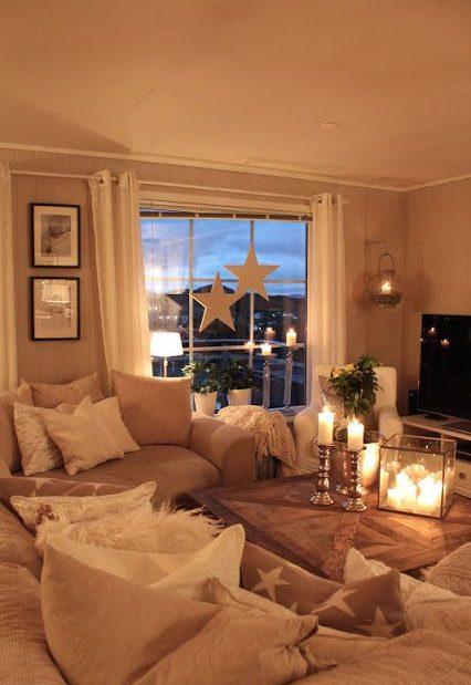 lanternes bougies salon déco cosy