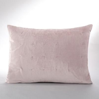 coussin velours rose pastel