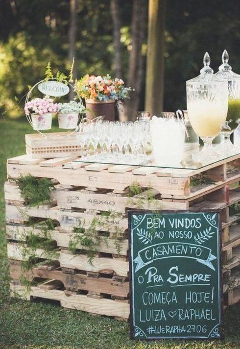 palette bar mariage décoration champêtre