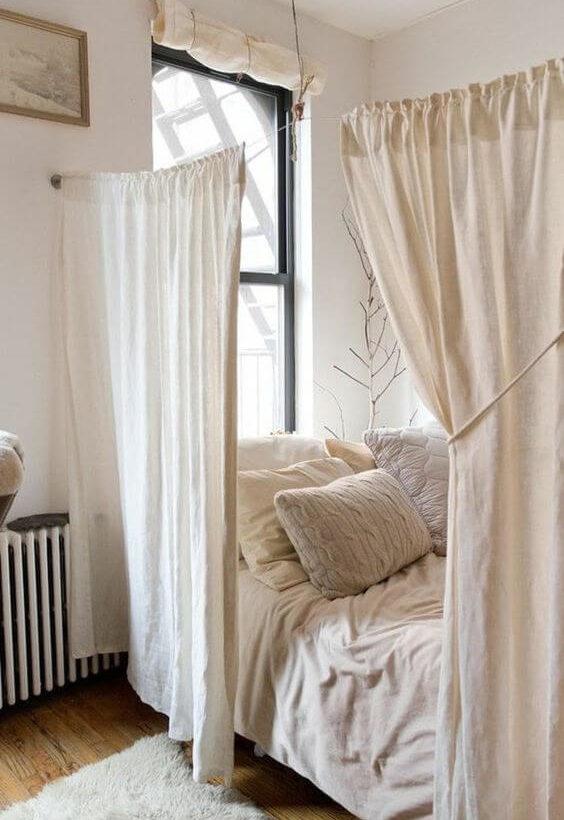 séparation rideaux coin chambre