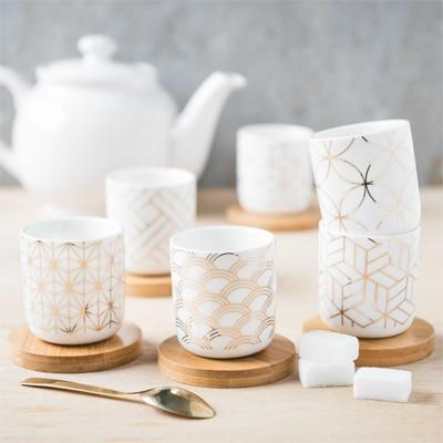 tasses cocooning blanc or bois
