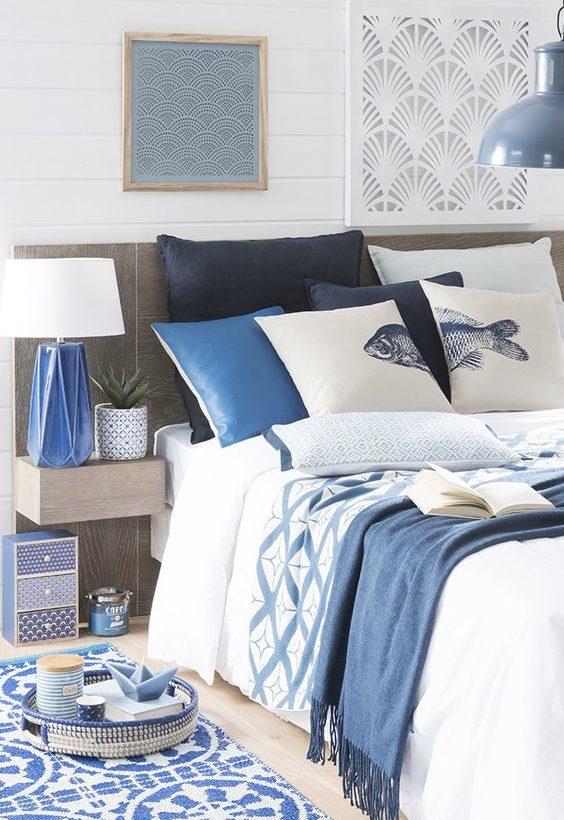 déco lit bleu bord de mer