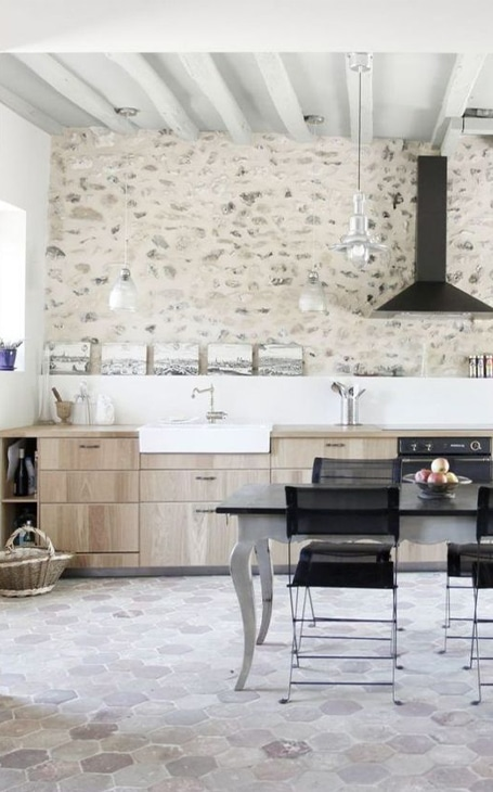 cuisine rustique mur en pierre