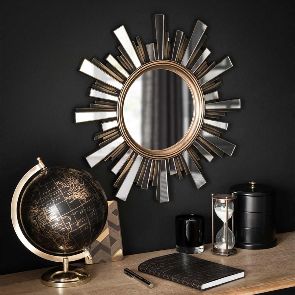 globe doré et noir et miroir soleil