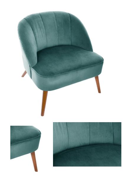 fauteuil bleu velours saint valentin