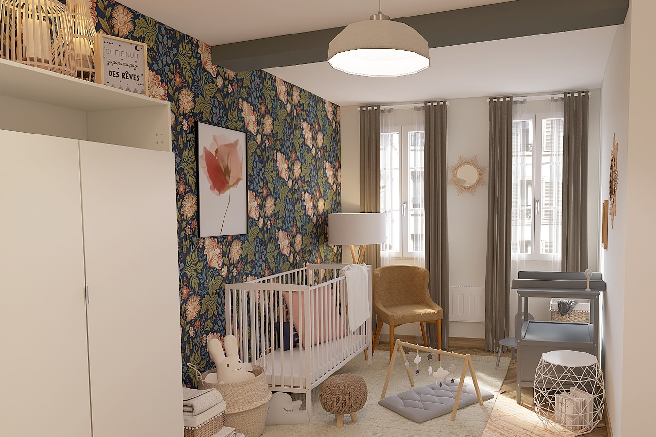 aménager chambre bébé bohème