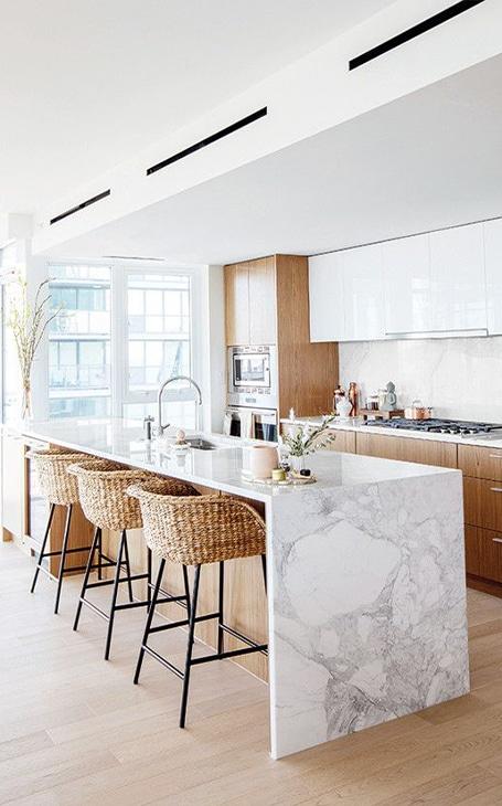 cuisine ilot central en marbre