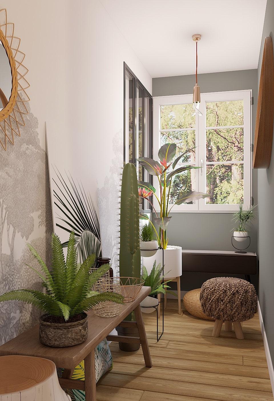 déco plantes couloir