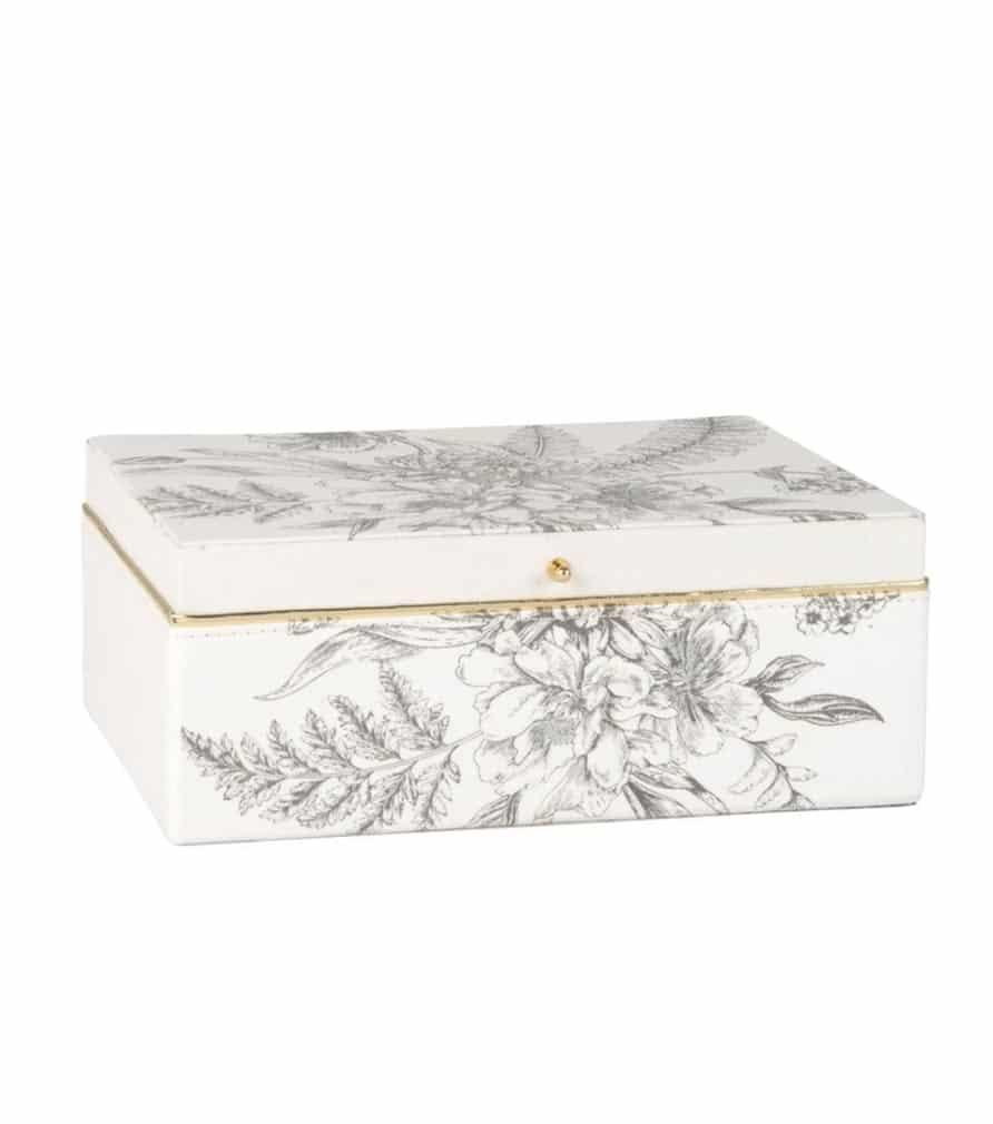 Boîte à bijoux blanche imprimé floral bleu