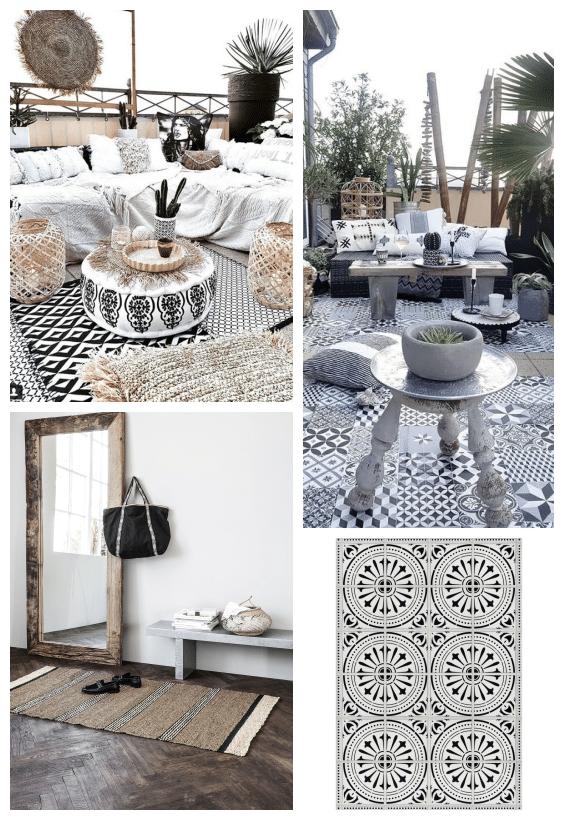 tapis outdoor noir et blanc