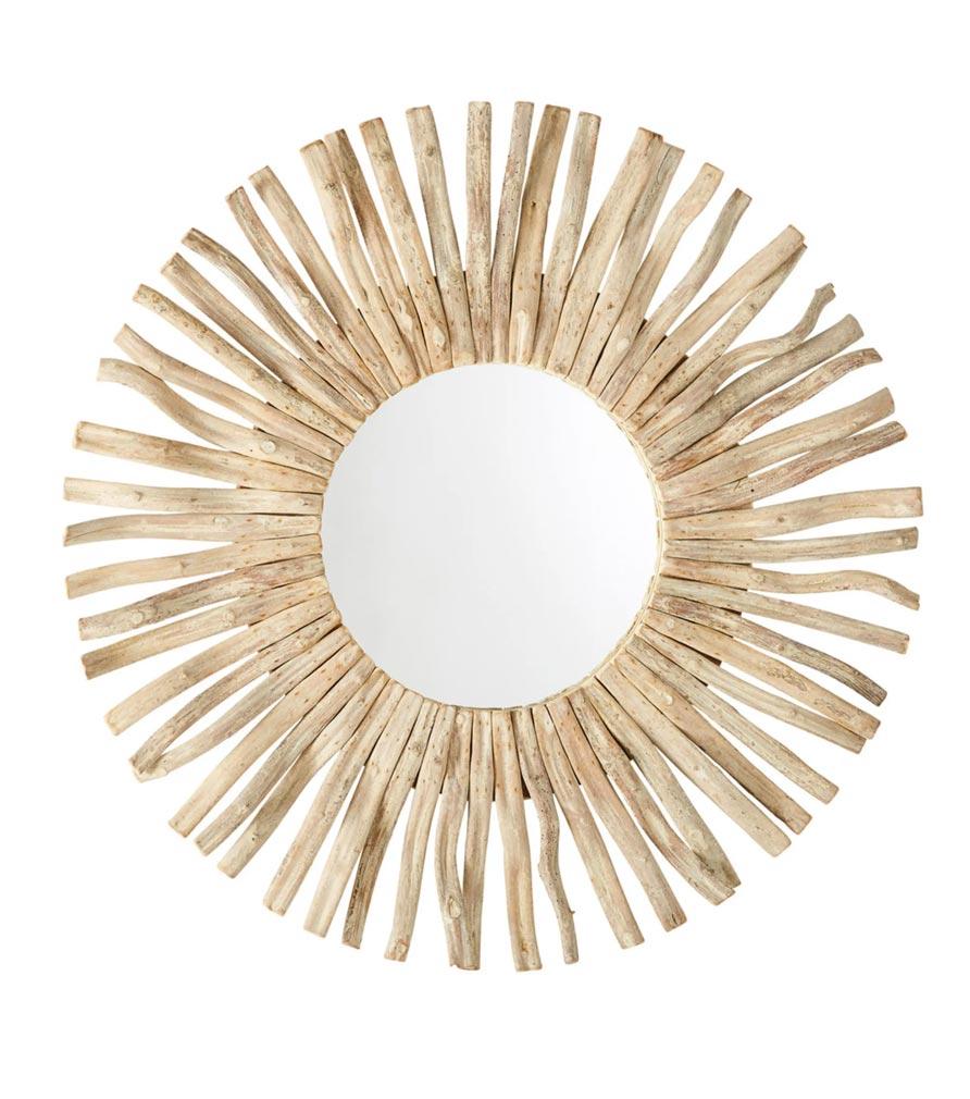 Miroir rond en bois flotté D100
