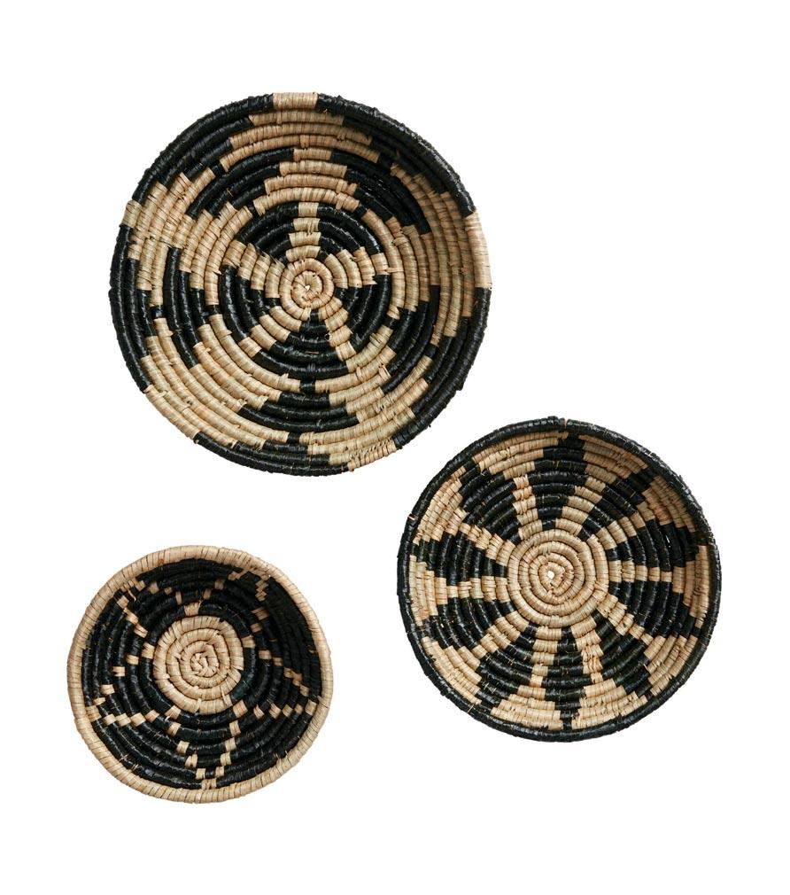 3 paniers plats en fibres naturelles