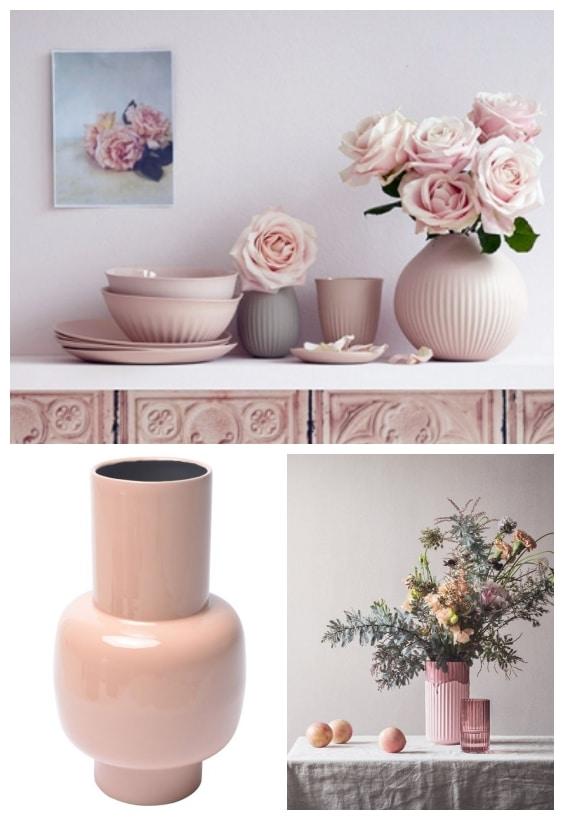déco vase rose poudré