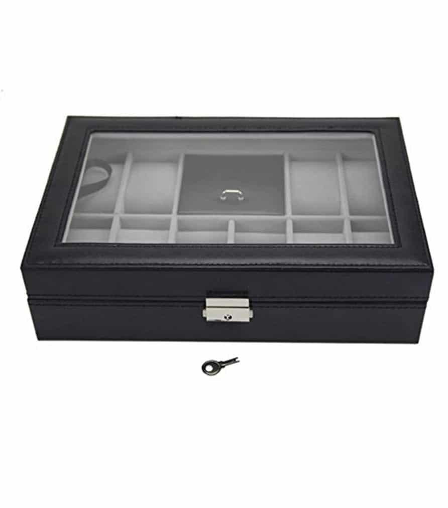Coffret montres et bijoux en cuir