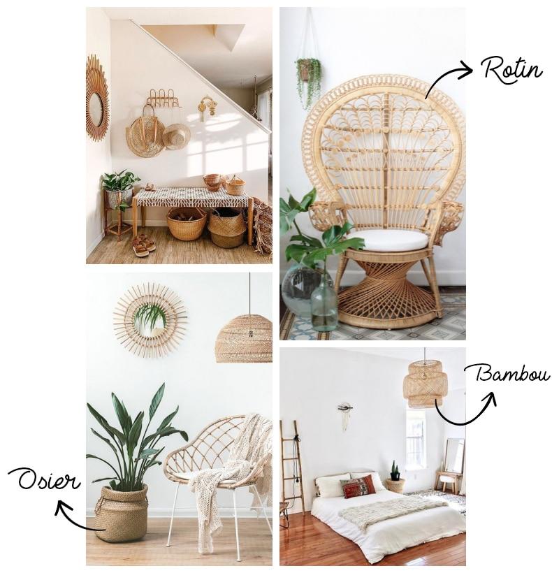 rotin, osier, bambou pour décoration bohème
