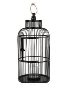 décoration cage oiseaux métal noir