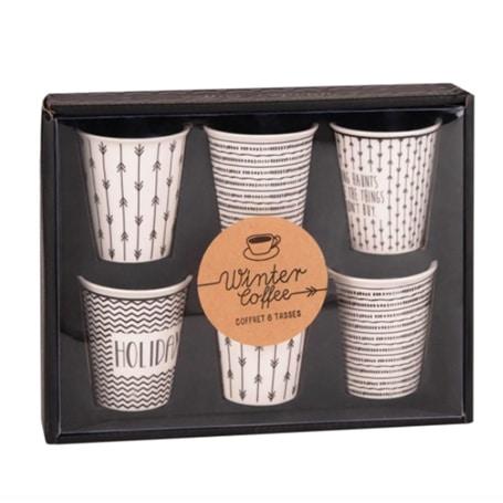 Coffret tasses en porcelaine  motifs noirs