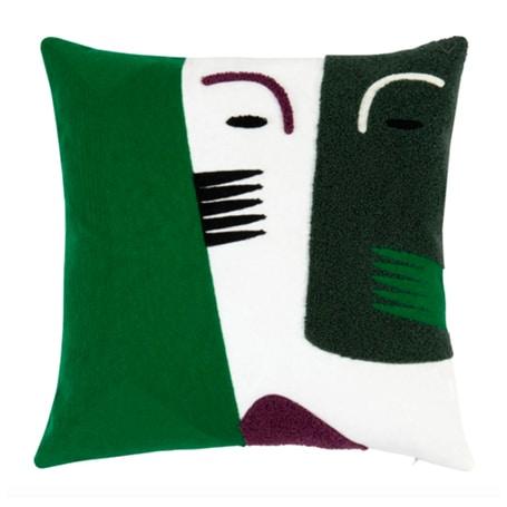 Housse de coussin en coton vert, écru, violet