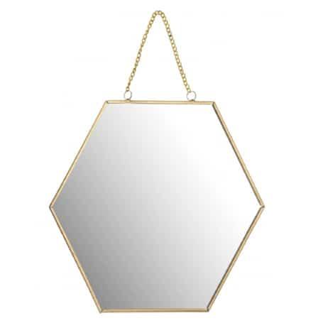 Miroir doré suspendu