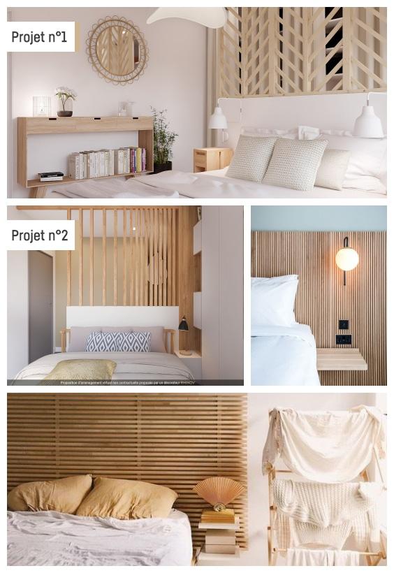tête de lit en tasseaux de bois