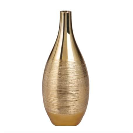 Vase boule en céramique dorée