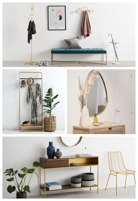 meubles entrée en laiton