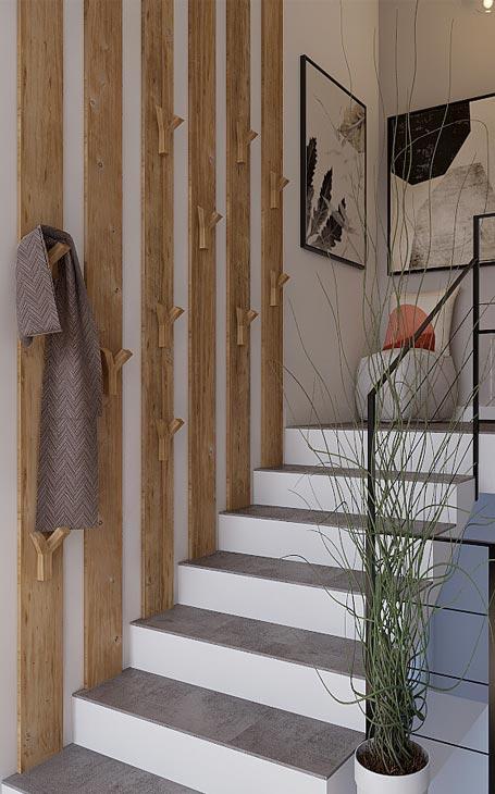 escalier avec tasseaux de bois