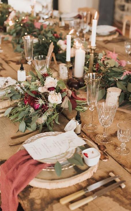décoration de table mariage hiver rustique