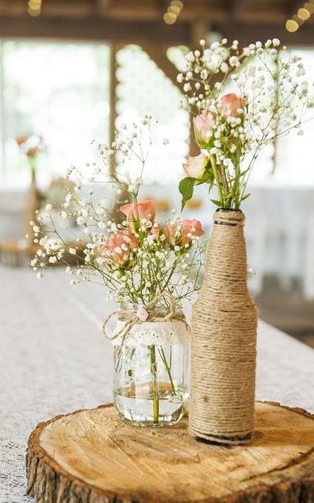 déco mariage bouteille fleurs