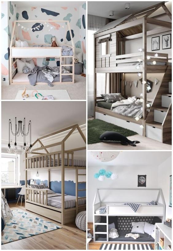 lit cabane deux couchages en hauteur