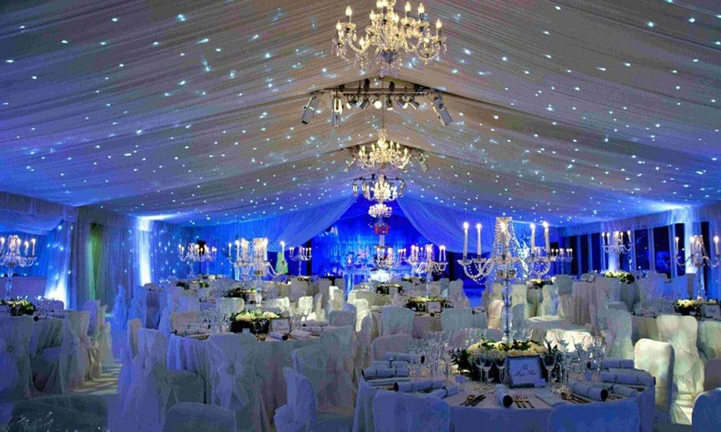 décoration mariage hiver bleue