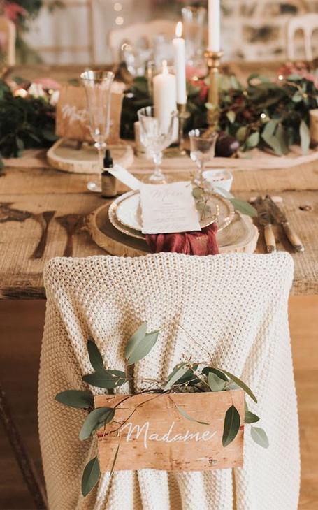 décoration table mariage hiver rustique