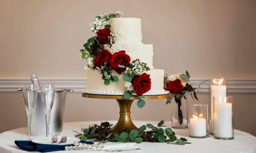 gateau décoration mariage hiver roses