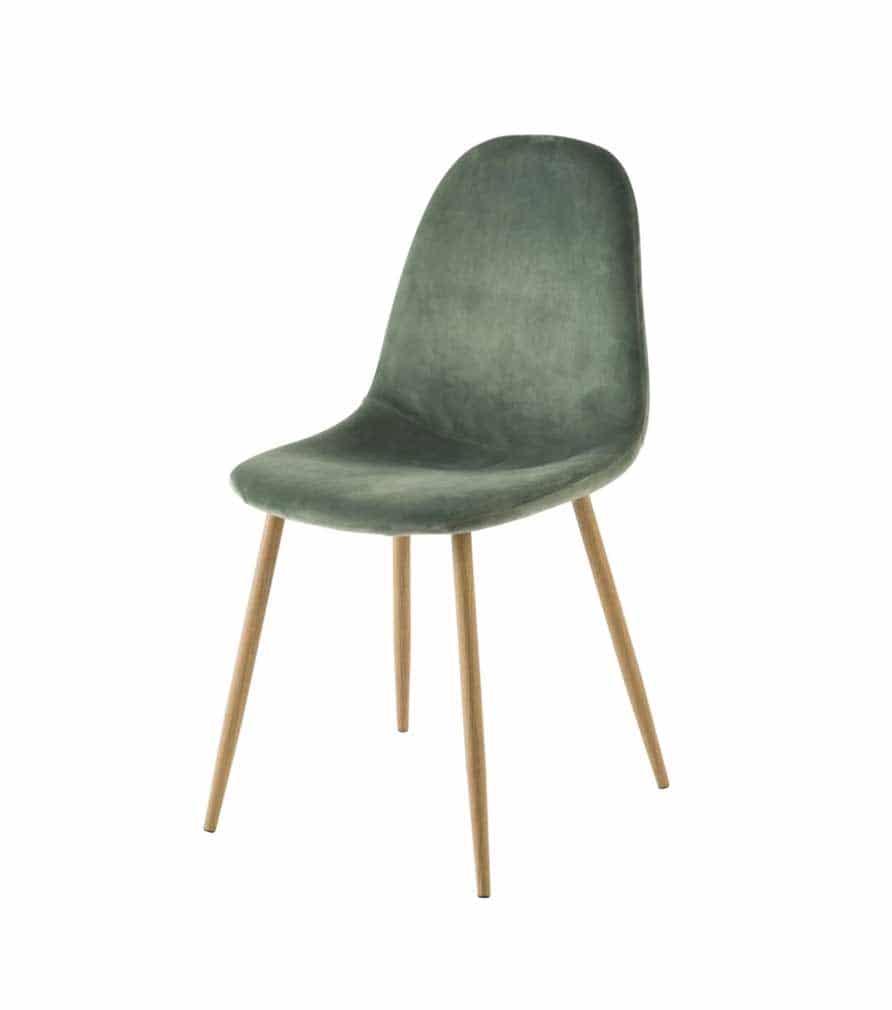 Chaise scandinave en velours vert